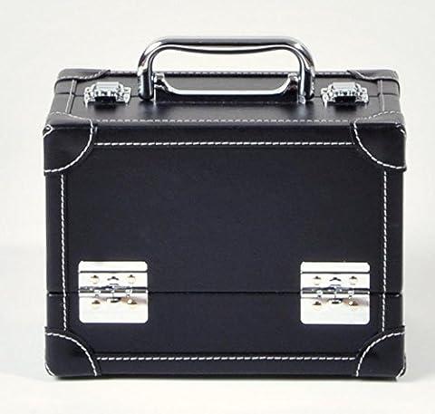 Prym Couture/Needlework trunk-style extensible étui à charnière avec étiquette libre-service et valise en métal fermoirs, en cuir synthétique, noir, Taille M