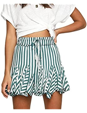 Miracleoccur Summer Women Casual Fashions Striped Pleated Skirts of Party High Waist Bandages Beach Mini Skirts