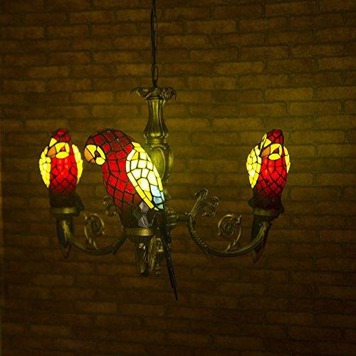 Europäischen Tiffany Glas Parrot Esszimmer Deckenleuchte Anhänger Lights Bar Zähler Club Bronze Metall Kronleuchter Country rustikal Balkon Anhänger Lampe Tiffany rot - Tiffany Bronze Lampe