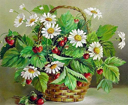 Strass 5D Stickerei Kreuzstich Kunst Handwerk Heimtextilien gefrorene Rosen, Blumenkörbe und Gänseblümchen ()
