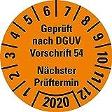 LEMAX® Prüfplakette Geprüft nach DGUV Vorschrift 54 2020,orange,Dokufolie,Ø 30mm,18/Bogen
