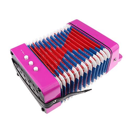 Mini 7 Tasten Akkordeon pädagogische Musikinstrument Spielzeug für Kinder Anfänger - Rosa