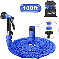 HOMOZE Expandable Garden Hose Pipe 100ft Flexible Water Hose 8 Function Spray Gun with Free Garden Storage/Special Hose Hanger/3-in-1 Garden Hose Tap Connector