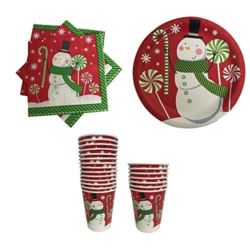 Pappteller, Servietten und Becher, Weihnachtsmotiv, Rot mit Schneemann Holiday Becher