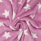 Wellness Nicki Fleece Stoff rosa weiß Sterne