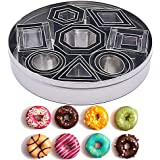 Mini Cookie Cutter Set - 24 Pcs Stainless Steel Geometric Shape Cutters, 8 Cutter Shapes in 3 Sizes Each, Xmas Halloween Gift