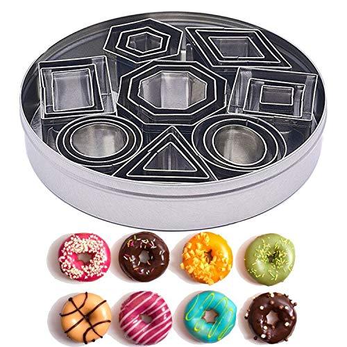 Mini-Ausstecher-Set - 24 Teile Nesting Edelstahl Geometrische Form Fondant-Fräser Formen für Mousse, Donuts, Schokolade, Fondant, Donut und Muffins - Inklusive Vorratsbehälter
