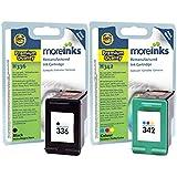 Moreinks - 2 Black / Tri-Colour Premium Compatible Printer Ink Cartridges to replace HP 336 / HP 342 for HP Photosmart C3180 C3190 C3100 C3170 7850 C3183 7800 C3110 C3135 C3188 7838V 7838XI C3185 7850V C3125 C3140 C3150 C3175 C3193 7850XI C3194 C3173 PSC 1510 1510S 1510V 1510XI 1500 2570 2575 1513 1508 2575XI 2575A 2575V 1513S 1503 1504 1507 Officejet 6310 6300 6310XI 6315 6301 6310V 6305 6318 6308 6313 6307 6304 Deskjet 5440 D4160 5432 5443 5440XI 5420 5440V D4100 5420V & More - Light User
