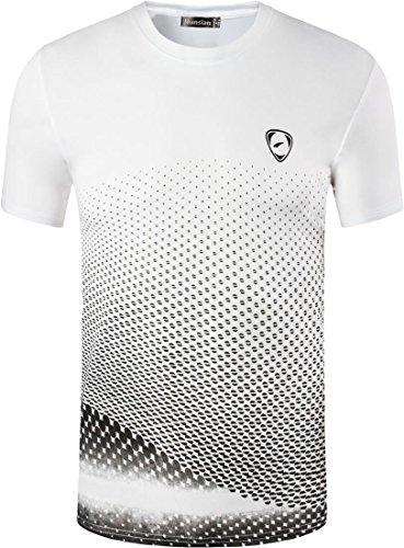 jeansian Herren Sportswear Quick Dry Short Sleeve T-Shirt LSL3225 (US XL(180-185cm 75-80kg), LSL225_WhiteBlack) (Us-fußball-t-shirts)