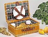 Locker Picknickkoffer für 2 Personen - Metallbesteck, Porzellangeschirr