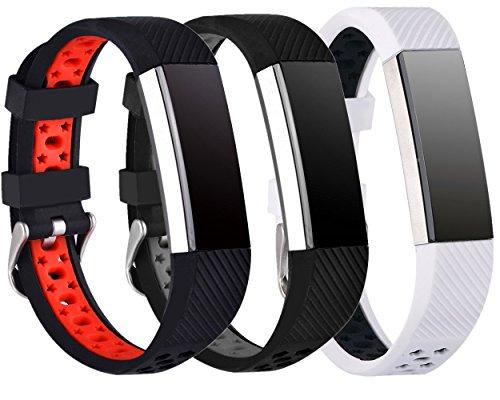 Preisvergleich Produktbild Greatfine Sport Smart Watch Fitness Armband Ersatzarmband für Fitbit Alta / Fitbit Alta HR Classic Herzfrequenz Smart Watch Fitness Tracker Zubehör (Free Size, BlackRed/BlackGrey/WhiteBlack 3)