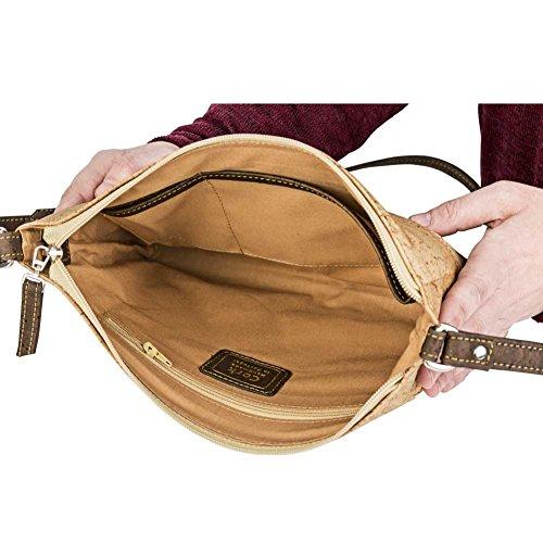Travel Cross-Body Bag for Women - Front Pockets - Vegan Brown Cork from Corkor Marron Clair