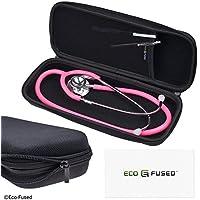 Eco-Fused Stethoscope Case - Passend für: 3M Littmann, MDF, ADC, Omron, etc. - Große Mesh-Tasche für Zubehör - Starkes Nylon Material - Schützt Ihr Stethoskop - verhindert Bents und Dents - Schwarz