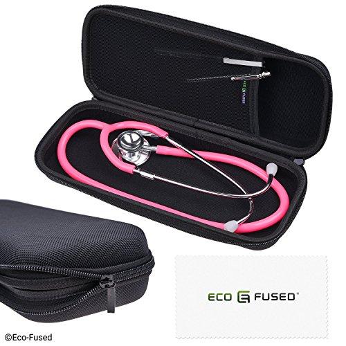 Eco-Fused Stethoskop-Box - Passend für: 3M Littmann, MDF, ADC, Omron, etc. - Große Netztasche für Zubehör - Starkes Nylon-Material - Schützt Ihr Stethoskop - Verhindert Biegen und Dellen - Schwarz