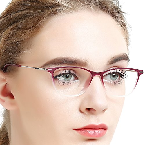 OCCI CHIARI Optische Brillen Rahmen Mode Optische Gläser Gradienten Farbe Licht und superfeine flexible Acetat Brillen Rahmen mit fester Scharnier und klare Objektive für Damen