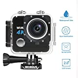 Waterproof Camera 4K 20MP Sports Action Camera WiFi 1080P HD Underwater Camera 2.0'' LCD Bike Motorcycle Helmet Camera with 2 Batteries and Accessories for Surfing Diving Swimming Skiing(WIMIUS L1 Black)