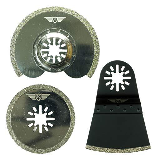 3 x TopsTools UNKA3DB Diamant Mörtel Klingen für Bosch Fein (Nicht-StarLock) Makita Milwaukee Einhell Hitachi Parkside Ryobi Worx Workzone Multi Tool Multifunktionswerkzeug Oszillierwerkzeug Zubehör
