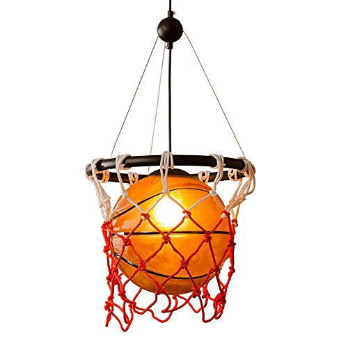 Basketball Kronleuchter, Retro LED Kreative Glas Kronleuchter Sport Thema Dekorieren Stil Restaurant Gym Beleuchtung Deckenleuchte Webart Basketball Net Licht E27