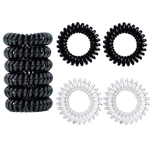 12 pcs fasce elastici per capelli legami di capelli elastic, trasparente6 pezzi,nero 6 pezzi,capelli mituso gomma (spirale plastica), cavo telefonico