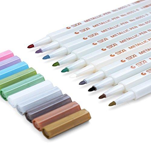 Sayeec Markierstifte in lebendigen Farben, dicke Spitze, 10er-Set zum Bemalen von Ostereiern, Fotobüchern, Papier, Glas, Kunststoff, Keramiktöpfen - unterschiedliche Farben Fine Bullet Tip 10 Pack