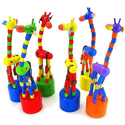 Tefamore 1pcs Kinder Intelligenz Spielzeug tanzen stehen bunte rockige Giraffe Holzspielzeug
