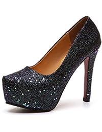 MHX Zapatos de Mujer de Tacones Altos de Mujer de Espesor Grueso Impermeables Gruesos con Zapatos de Boca Baja Lentejuelas Femeninas Cabeza Redonda 13CM Zapatos de Boda (Color : Black, Tamaño : 36)