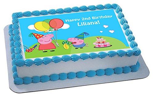Peppa Pig und George Personalisierte Kuchen Topper Puderzucker Papier A4Bild B (Peppa Pig-happy Birthday)
