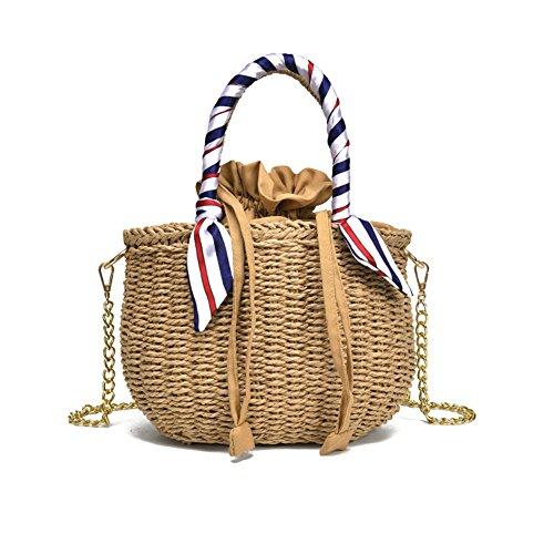 Yunt Bambus Tasche, Hand Gestrickte Tasche Halbmond Strandtasche für Frauen, Doppelte Tasche Seide Reisetasche Geflochtene Stroh Umhängetasche (Halbmond-tasche)