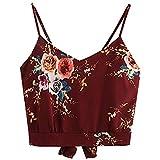 BHYDRY Frauen Selbst Binden zurück V-Ausschnitt Blumendruck Crop Cami Top Camisole Bluse(Weinrot,S)