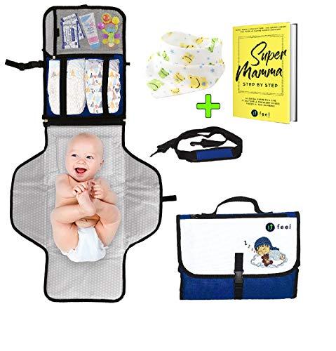 Fasciatoio portatile- ufeel- nuova edizione 2020 tracolla+ bavaglino+ ebook- idee regalo neomamma nascita battesimo bambino- borsa cambio pannolino viaggio bimbo- accessori neonato passeggino