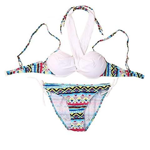 Kolylong Maillot De Bain Femme Ensemble de bikini Maillots de bain Push-Up Soutien-gorge rembourré Maillot de bain Tenue de plage (L/FR 36-38, Blanc)