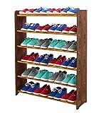 Schuhregal Schuhschrank Schuhe Schuhständer RBS-6-90 (Seiten dunkelbraun, Stangen in der Farbe erle)