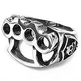 MENDINO uomo gioielli Guanto da Boxe Teschio A forma di tirapugni gotico Shield Silver Nero Anello in acciaio inox 316L e Acciaio inossidabile, 27, cod. JRG0042SI-8 UK