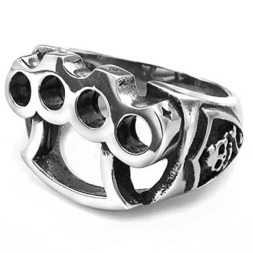 mendino para hombre Joyas Guante de boxeo Calavera forma de puño americano Gótico Shield Silver Negro Anillo de acero inoxidable 316L