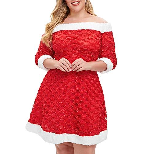 Luckycat Weihnachten Frauen Fluffy Plus Size Weg von der Schulter Minikleid Abendkleider Schwingenkleid Partykleider Cocktailkleid Blusenkleid Kleider