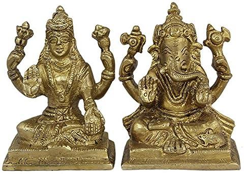 Hindu-gott - paar ganesha und göttin lakshmi figuren-set - statue groß hindu - 7,6 x 5,1 x 4,1 cm (Golfer Bronze Garten-statue)