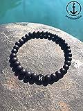 Personalisierbares Armband aus 6mm matt schwarzen Acrylperlen mit schwarzer Buchstabenperle | Valentinstag | Namensarmband | Gravur | Geschenkidee | Freundschaft | BFF | VERSAND KOSTENLOS❤️️