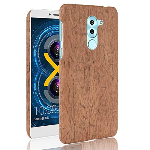 LMFULM® Hülle für Honor 6X / Huawei GR5 2017 (5,5 Zoll) Holz Außerhalb Harter PC Stoßfänger Silikon Hülle Dünner Handyhülle Dünne Rückseitige Abdeckung für Honor 6X / Huawei GR5 2017 Braun
