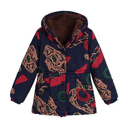 TIZUPI Fashion Große Größe Mantel Frauen Winter Warm Outwear Blumendruck Taschen Mit Kapuze Vintage Oversize Mäntel Warmer Mantel Jacke Sweatshirts Tops(Khaki,XL