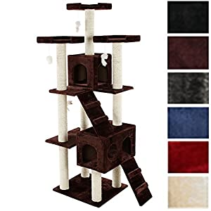 TecTake Cat scratcher activity center high quality cat tree 186cm height column (sisal) diameter approx. 9 cm -different colours-
