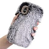 Warm Handyhüllen Hülle case für iPhone XS Max 6.5 inch Luxus Bling Fluffy Villi Plüsch Wolle Pelz Plüsch flockige flaumige weiche Telefon Kasten Abdeckung Tasche (Grau)