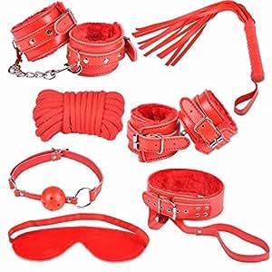 Coffret et Pack SM 7 pieces/ Kit de bondage BDSM Fetish Fétiche - Rouge