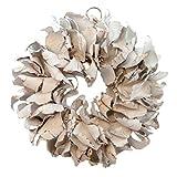 COURONNE Naturkranz Deko-Kranz groß Ø 25cm in weiß, gefertigt aus Palmblatt-Früchten. Türkranz zum hängen oder als Tischdekoration im Shabby chic Design, Zeitloses Wohnaccessoires als Natur-Deco