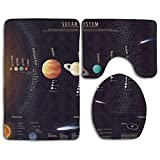 WITHY Outer Space Solar System with Educational Scientific Information Jupiter Saturn Universe Telescope Bathroom Rug 3 Piece Bath Mat Set Contour Rug and Lid Cover