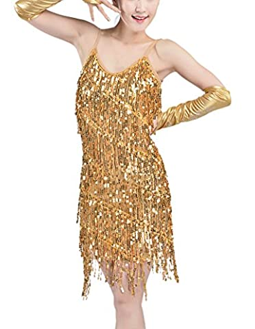 Whitewed Sexy Flapper Girls and Gangster Halloween Dance Costumes Dresses Gold