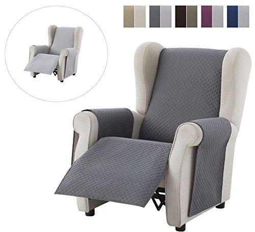 Textilhome - Sesselschoner Relax ADELE, 1 Sitzer - Reversibel gepolsterter Sofaschutz. Farbe Grau