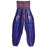 ASHOP Damen Yoga Hosen, High Waist Lose Bein Teilt Boho Haremshose Aladinhose Freizeithose (Marinenblau)