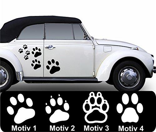 20 x Pfoten Aufkleber Pfotenaufkleber Pfötchen Autoaufkleber Hundepfoten Farb+Motivwahl Pfotenset in 33 Farben matt oder glänzend