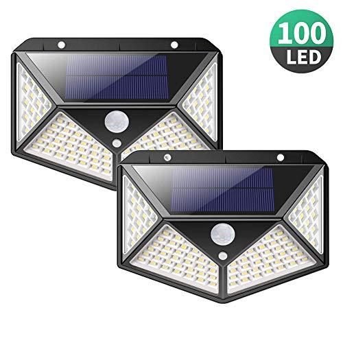 BuBu-Fu Hohe Lumen-Solarlichter Im Freien [100 LEDs], IP65 wasserdichte Drahtlose Automatische Schalter-Bewegungs-Sensor-Lichter, 3 Modi Yard Security Wall Lights,A100LED2PACK