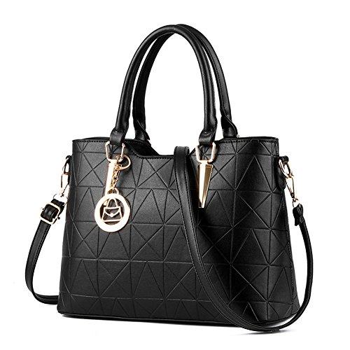 fanhappygo Frauen PU Leder Handtaschen Schultertaschen Tasche Handtasche Umhängetasche Schulter Beutel Reißverschluss Messenger Hobo Bag Schwarz